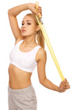 Portfait of Sporty beautiful girl holding jump rope poster