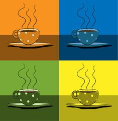 tazzine di caffè colorate