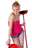 woman with  dustpan and broom