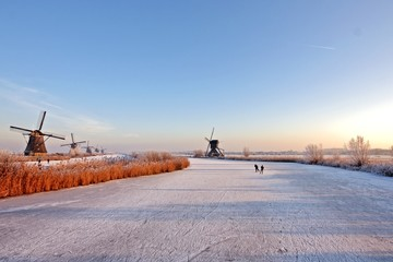 Winmills at the Kinderdijk in the Netherlands in wintertime
