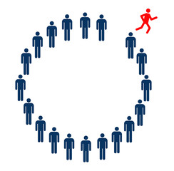 Person running from circle formed by people symbols