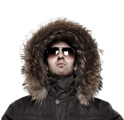 Fashion man in winter jacket