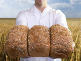 Close up of baker holding fresh bread loaves in wheat field