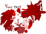 Red blot with hearts - vector illustration poster