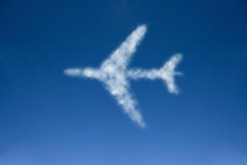 Airplane cloud in blue sky