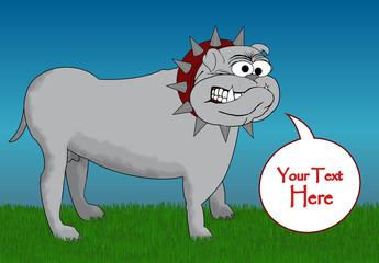 BullDog Cartoon - With CopySpace Speech Bubble