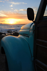 Beach dusk with classic van