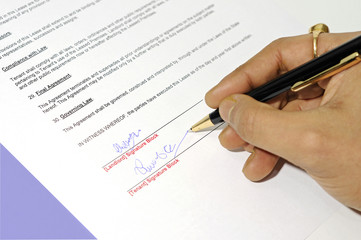 lease agreement being signed