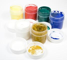Set of several colors gouache open tubes