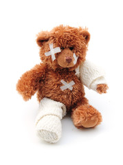 Injured teddy bear