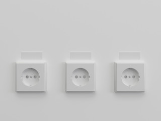 Three white sockets