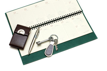 Diary, handle and keys