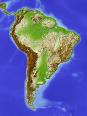 South America, shaded relief map, colored for elevation