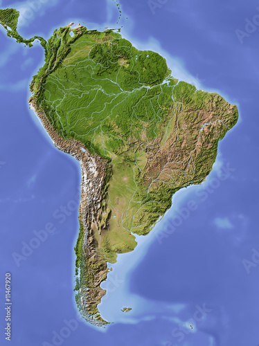 South America, shaded relief map, colored for vegetation