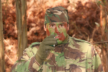 Military training combat, face camouflage