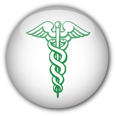White button with caduceus symbol