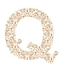 Floral letter Q. Ornament font
