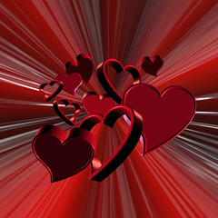 Valentine hearts explosion