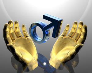 blue mars symbol in hands