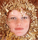 Redhead Woman With Freckles Surrounding Her Face poster