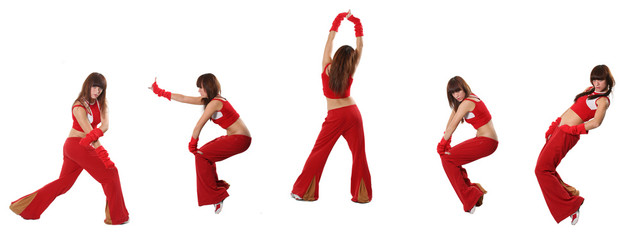 dances in a red suit