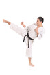 Karate man exercising against white background
