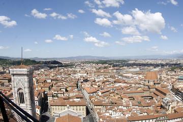 ドゥオモから見たフィレンツェの町並みとジョットの鐘楼