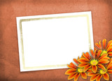 Leaf with gold frame for invitation or congratulation on the abs poster