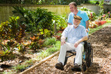 Disabled Senior Enjoying Garden poster