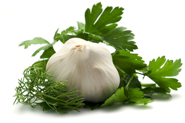Aromatic herbs and garlic