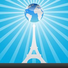 eiffel tower and world globe
