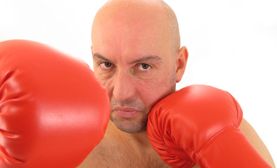 Boxer with red boxing gloves