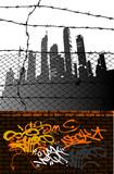 grunge urban scene poster
