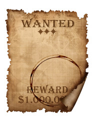 A vintage wanted sign