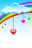 Colorful hearts under rainbow cloud poster