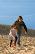 enfants remontant la dune du Pilat