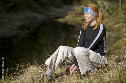 Active woman having rest