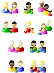 Non-traditional families icon set