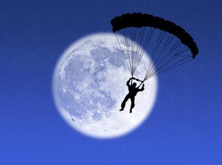Paracadutista nella luna