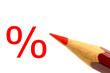 Rotstift mit Prozent