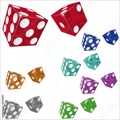 transparent dices isolated on white background