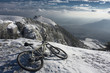 Bike in snowy mountains
