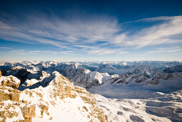 Mountains with snow landscape panorama