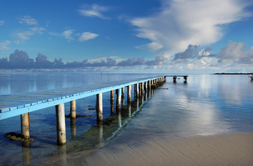 Blue jetty, Moorea next to Tahiti French Polynesia