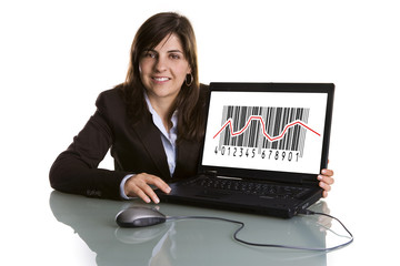 businesswoman showing sales graphic on laptop computer