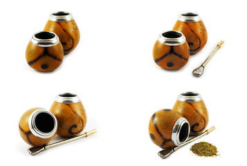 Yerba mate gourds isolated on white. Set of 4 pictures.