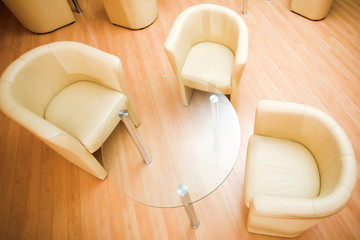 armchairs in cafe