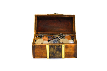 chest overfilled with coins isolated on white