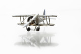 Isolated miniature model of nice vintage biplane poster