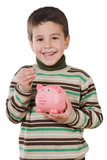 Adorable child with moneybox savings poster